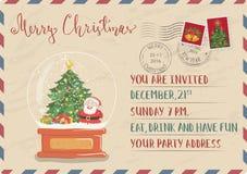 Weinlese-Weihnachtspostkarte mit Stempel und Poststempel vektor abbildung