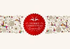 Weinlese-Weihnachtsren-Grußkarte stock abbildung