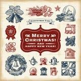 Weinlese-Weihnachtssatz Stockfotos