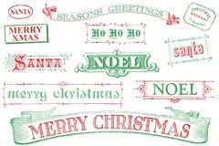 Weinlese-Weihnachtsstempel Lizenzfreie Stockfotos
