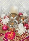 Weinlese-Weihnachtstabellendekor Lizenzfreie Stockfotografie
