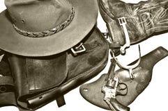 Weinlese-westliche Ansammlung Schwarzweiss Lizenzfreies Stockfoto