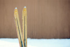 Weinlese-Winter Ski Tips Lizenzfreie Stockfotos
