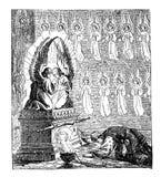 Weinlese-Zeichnung der biblischen Geschichte der Israelite, die den Tabernakel oder das Zelt der Versammlung herstellen, Moses be vektor abbildung