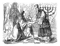 Weinlese-Zeichnung der biblischen Geschichte von Elkanah und von seiner Frau Hannah Who Are Presenting Son Samuel zum Priester El stock abbildung