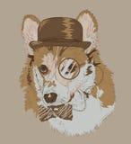 Weinlese-Zeichnung von Corgi mit Hut Monokel und bowtie Lizenzfreies Stockfoto