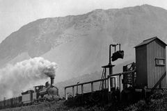 Weinlese-Zug-Foto 1900 Llanfairfechan, Wales Stockfotografie