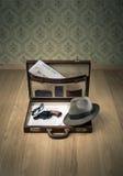 Weinleseaktenkoffer des Detektivs Lizenzfreie Stockfotografie