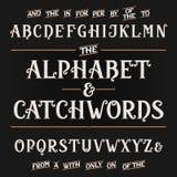 Weinlesealphabet-Vektorguß mit Stichwörtern Aufwändige Buchstaben und Stichwörter Stockfotografie