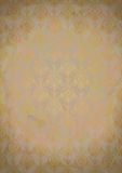 Weinlesealter Papierhintergrund mit Goldmuster Stockbilder