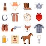 Weinleseamerikanische alte Westdesigne unterzeichnen und Grafikcowboyvektorikonen Lizenzfreie Stockfotografie