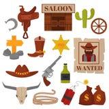 Weinleseamerikanische alte Westdesigne unterzeichnen und Grafikcowboyvektorikonen Stockbild