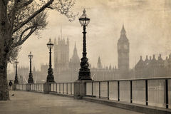 Weinleseansicht von London, von Big Ben u. von Parlament Stockfoto