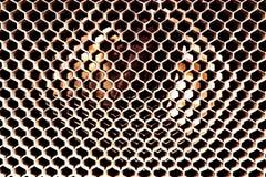 Weinleseantike Automobilheizkörperbienenwabe mit weißer Oxidation und Abnutzung stockfoto