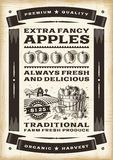 Weinleseapfel-Ernteplakat Stockfoto