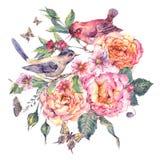 Weinleseaquarell-Blumenkarte Vögel und stiegen Stockfotos