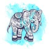 Weinleseaquarell-Elefantillustration Stockfoto
