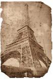 Weinleseart Eiffelturmkarte stockbild