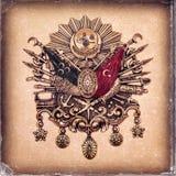 Weinleseart, getragenes Fotopapierblickbild des Emblems des Osmanischen Reichs u. x28; Altes türkisches Symbol u. x29; stockfotos