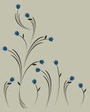 Weinleseart mit blauen Blumen Stockfoto