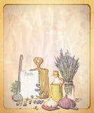 Weinleseart-Papierhintergrund mit leerem Platz für Text und Illustration von Provence-Stillleben Stockfoto