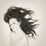 Weinleseart und weiseportrait der schönen Frau Lizenzfreie Stockfotos