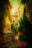 Weinleseartbild von Eze, Frankreich Lizenzfreies Stockfoto
