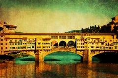Weinleseartbild von Ponte Vecchio, Florenz Lizenzfreie Stockfotografie