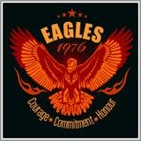 Weinleseaufkleber Eagle - Retro- Emblem Stockfoto
