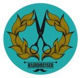 Weinleseaufkleber für Friseur und Friseur mit Lizenzfreies Stockbild