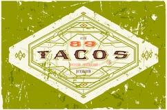 Weinleseaufkleber für traditionelles Taco Mexikanerlebensmittel vektor abbildung