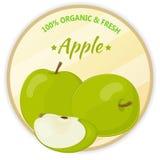 Weinleseaufkleber mit den Äpfeln lokalisiert auf weißem Hintergrund in der Karikaturart Auch im corel abgehobenen Betrag Obst und Stockfoto