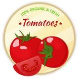 Weinleseaufkleber mit den Tomaten lokalisiert auf weißem Hintergrund in der Karikaturart Auch im corel abgehobenen Betrag Obst un Lizenzfreie Stockfotografie