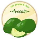 Weinleseaufkleber mit der Avocado lokalisiert auf weißem Hintergrund in der Karikaturart Auch im corel abgehobenen Betrag Obst un Stockfotos