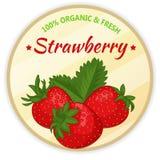 Weinleseaufkleber mit der Erdbeere lokalisiert auf weißem Hintergrund in der Karikaturart Auch im corel abgehobenen Betrag Obst u Lizenzfreie Stockbilder