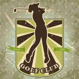 Weinleseaufkleber mit der Frau, die Golf spielt Retro- Hand gezeichneter Vektorillustrations-Plakatgolfclub Stockfotos