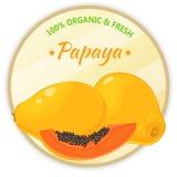 Weinleseaufkleber mit der Papaya lokalisiert auf weißem Hintergrund in der Karikaturart Auch im corel abgehobenen Betrag Obst und Stockbilder