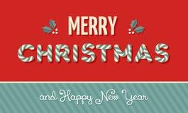 Weinleseaufkleberhintergrund der frohen Weihnachten Lizenzfreies Stockfoto