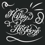 Weinleseaufschrift frohe Feiertage Stockfoto