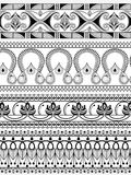 Weinleseaufwändige Blumengrenze für Teiler Stockbild