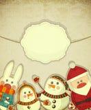 Weinleseauslegung der Weihnachtspostkarte Stockfotos