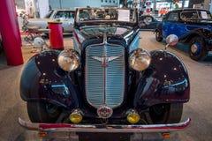 Weinleseauto Adler Trumpf Junior-1E trägt Cabriolet, 1938 zur Schau Lizenzfreie Stockfotografie