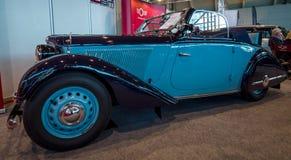 Weinleseauto Adler Trumpf Junior-1E trägt Cabriolet, 1938 zur Schau Stockfoto