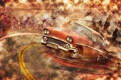 Weinleseauto grunge Hintergrund Stockbild