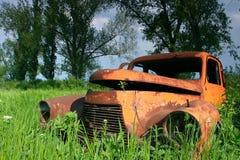 Weinleseauto im Gras Stockfoto