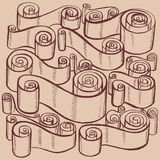 Weinlesebänder und -rollen Grafische Illustrationen Stockbild