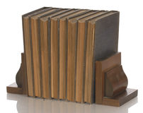 Weinlesebücher mit Bücherstützen Stockfoto