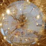 Weinlesebeschaffenheitshintergrund mit Uhr (Zeit) Stockbild