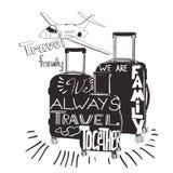 Weinlesebeschriftungsgepäck für Reise Reiseinspirationszitate Lizenzfreies Stockbild