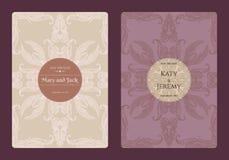 Weinleseblumenabwehr die Datums- oder Hochzeitseinladungskartensammlung Romantische Kartenschablone des Retro- Vektors Lizenzfreies Stockbild